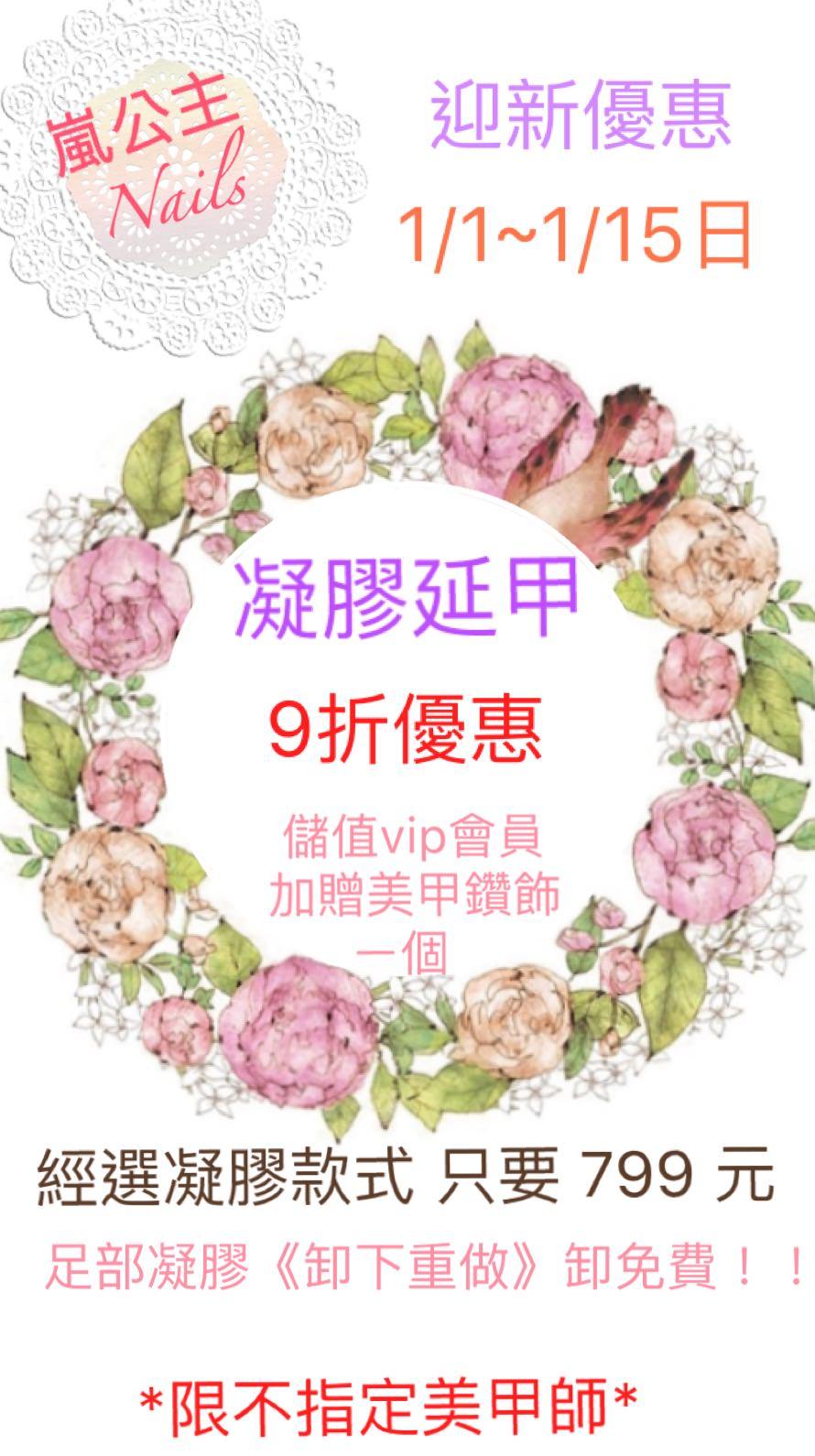 嵐公主美甲高雄獅甲/後驛~1月迎新優惠 凝膠延甲9折優惠